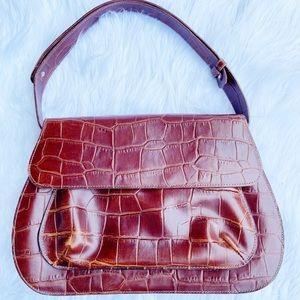 Vintage Brown Croc Leather Shoulder Handbag Bag